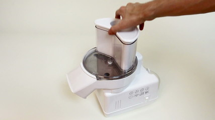 Electric slicer parts combined. Food processor.