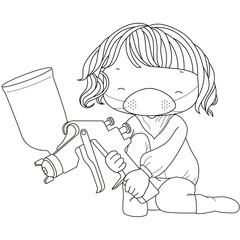 coloring illustration of a girl with spray gun