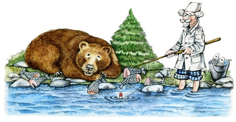 Illustration of brown bear and doctor fishing