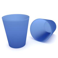 2 Blaue Trinkbecher