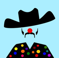 rodeo clown with cowboy hat