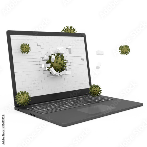 Laptop Virus Attack Concept