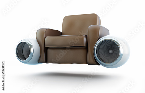 aircraft engine leather armchair