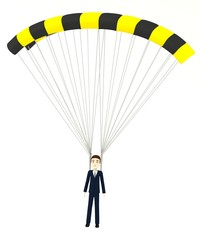 3d render of cartoon character with parachute