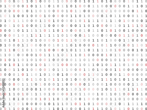 Flat binary code screen listing table with red digit