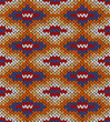 Style Seamless Knitted Pattern. Blue Yellow Red Orange White Col