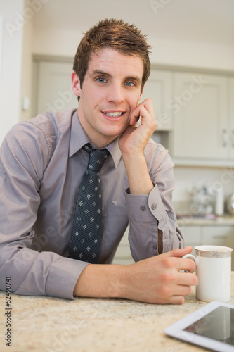 Man drinking a coffee at morning