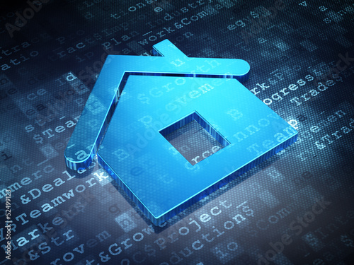 Business concept: Blue Home on digital background