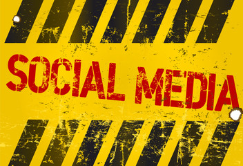 grungy social media sign, w. hazard stripes