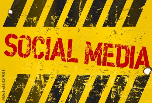 grungy social media sign, w. hazard stripes