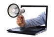 Megaphone through laptop monitor
