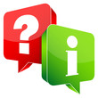 Speech Bubbles Question Red & Information Green