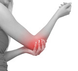 Acute pain in a woman elbow