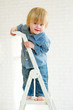 Cute little boy posing from the top of the ladder