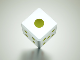 Dice cube with red dots