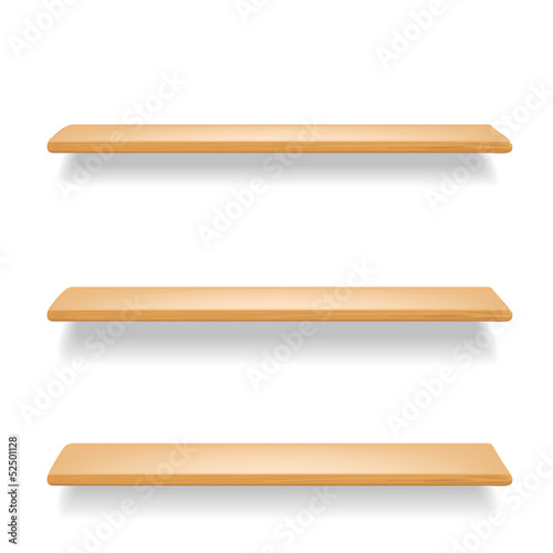 wooden shelves on white background