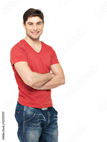 smiling handsome man in casuals red t-shirt