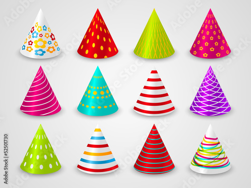 Set of party paper hats