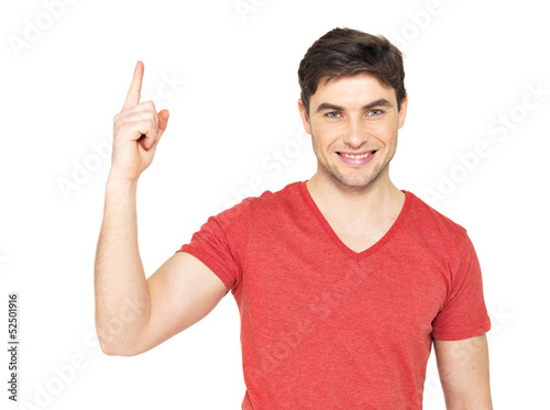 Young happy man with good idea sign
