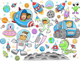 Cute Outer Space Vector Illustration Design Set poster