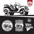 Classic car isolated vector. Retro style car garage labels.