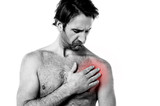 Young man having chest pain poster