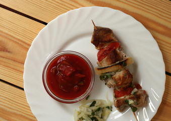 fresh grilled meat on a skewer