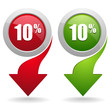 10 percent button with arrow