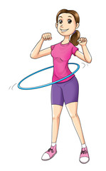 Cartoon illustration of a woman exercising with hula hoop