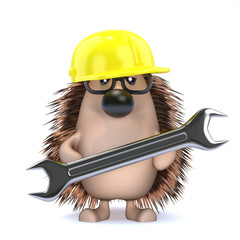 Cute hedgehog repairs stuff