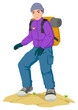 Cartoon illustration of a man hiking carrying backpack