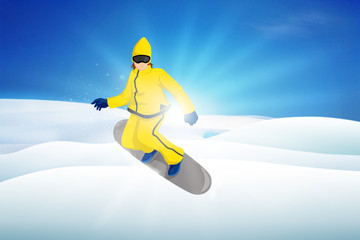 Illustration of a snow boarder