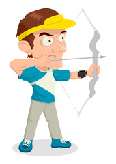 Caricature illustration of an archer aiming with bow