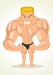 Caricature illustration of a bodybuilder