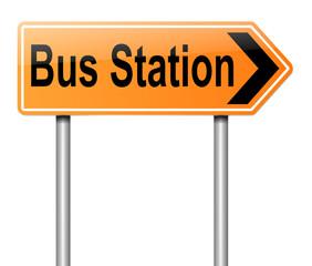 Bus station sign.