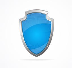 Vector Empty metal shield blue