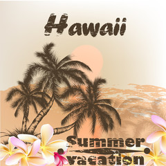 Banner with Hawaii palms in grunge vintage style for summer desi