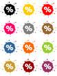 Bunte Kleckse als Buttons mit Prozentzeichen