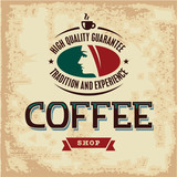 Coffee Shop. Retro Vintage Coffee Label.