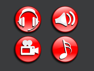 abstract glossy music icons