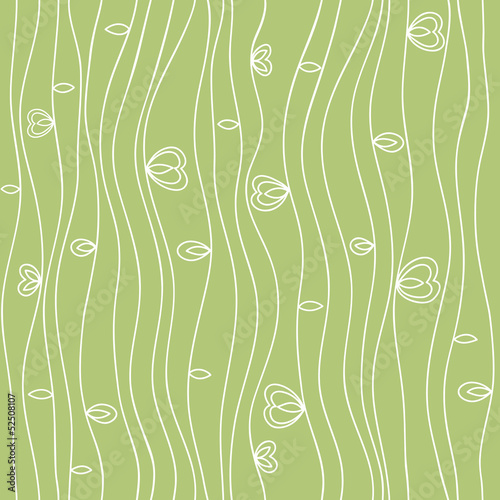 Wavy line seamless pattern with leaves and hearts