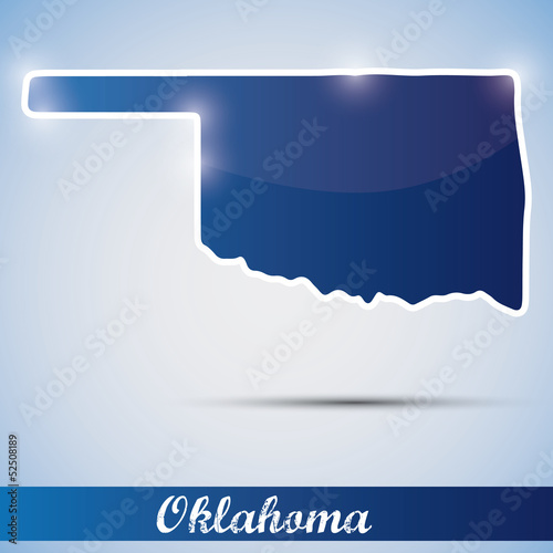 shiny icon in form of Oklahoma state, USA