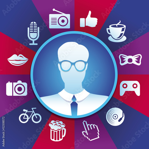 Vector hipster  in round frame
