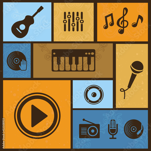 Vector design element with musical icons and signs
