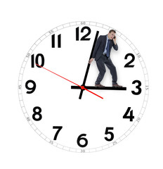 Businessman saving time holding the clock