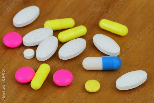 Assorted drug pills