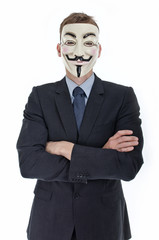Man in suit with Vendetta mask