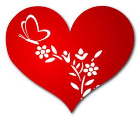 Herz, Schmetterling und Blume