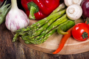 Many useful and fresh vegetables for cooking