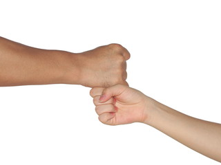 fist bump isolated on white background
